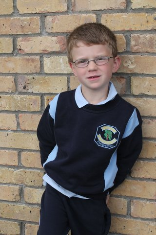 Isaac on the first day of school, 2014